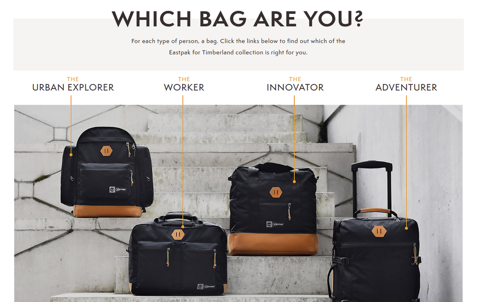 Timberland x Eastpak bags page written by Elliott James Sainsbury