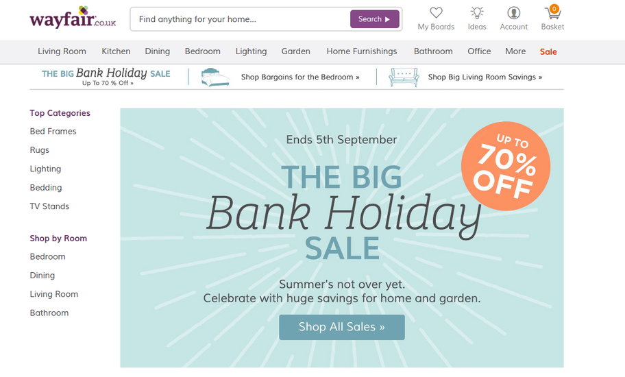 Wayfair Bank Holiday sale landing page written by Elliott Sainsbury