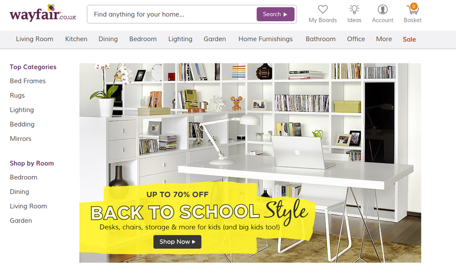 Wayfair Back to School sale landing page