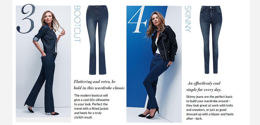 Jean fit guide for George at ASDA written by Elliott James Sainsbury