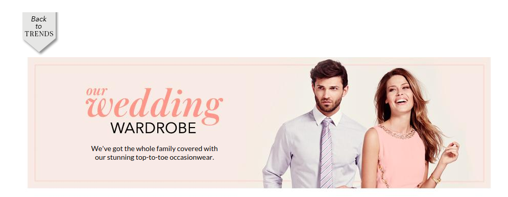 Wedding wardrobe trend feature from George at ASDA