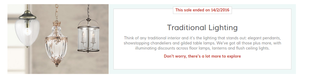 Wayfair traditional lighting daily sale promotional copy