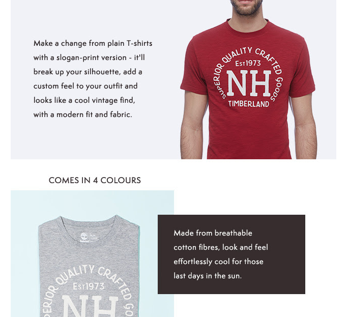 Timberland printed men's t-shirt newsletter