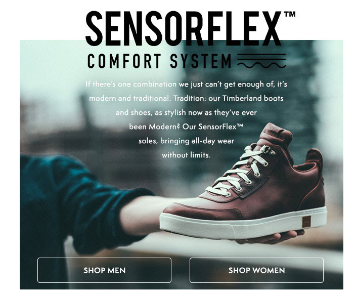 Newsletter explaining Timberland's SensorFlex shoe system