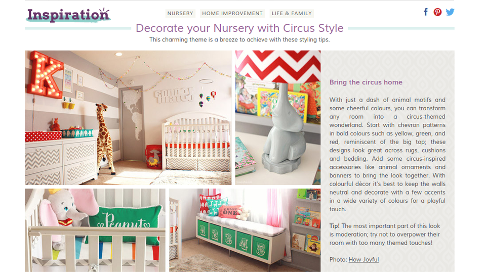 How to decorate a kids' room in Circus style article from Wayfair UK
