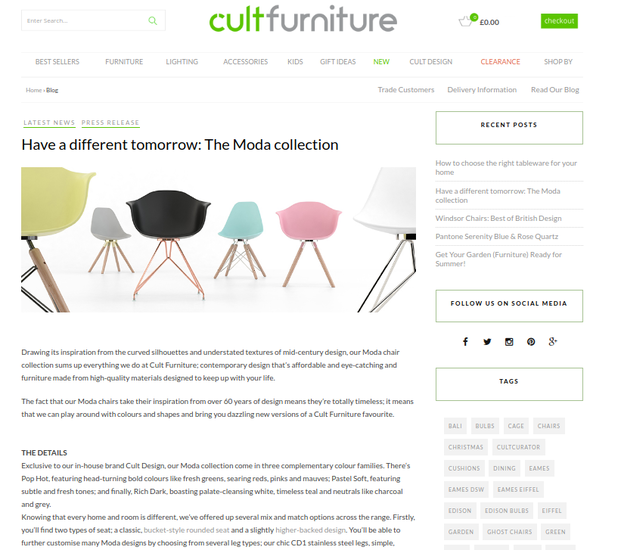 Moda collection stools and chairs from Cult Furniture