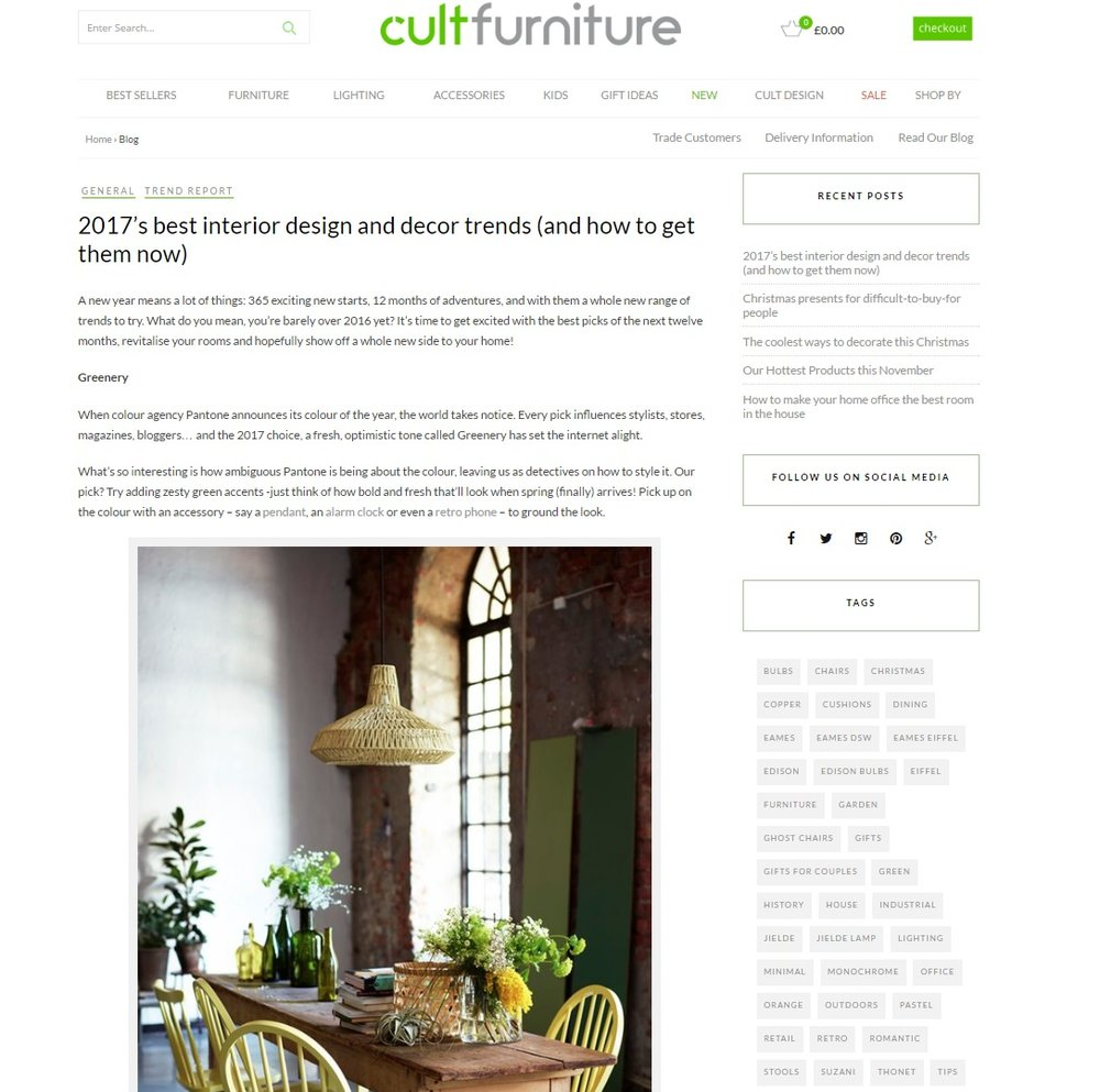 Cultfurniture.com 2017 interior design trends guide
