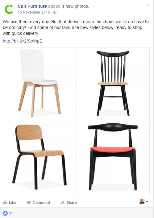 Cult Furniture.com chairs social media post