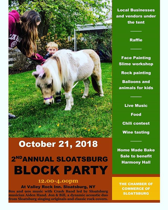 We'll be here! Come up to Sloatsburg on October 21 for a Block Party! #blockparty #sloatsburg #sloatsburgny #fallfestival #sloatsburgchamberofcommerce #suffern #rocklandcounty #chili