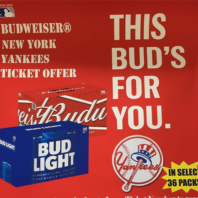 Opening Day ⚾️🍺 Come pick up a @budweiser @budlight 36 pack and you and a friend might find yourself headed to the next #yankee game! #seldenbeverage #longisland #longislandbeer #beer #drinkbeer