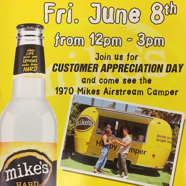 ‼️TOMORROW‼️Customer Appreciation Day! Come on down to #seldenbeverage between 12 pm - 3 pm and enjoy a BBQ, Samplings, & GIVEAWAYS! The @mikeshardlemonade camper will be here! 🍋🍺☀️#seldenbeverage #mikeshardlemonade #happycamper #mikesairstreamcampers