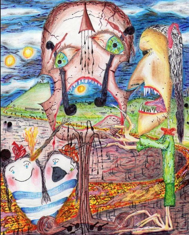 Pain (watercolour/pencils)