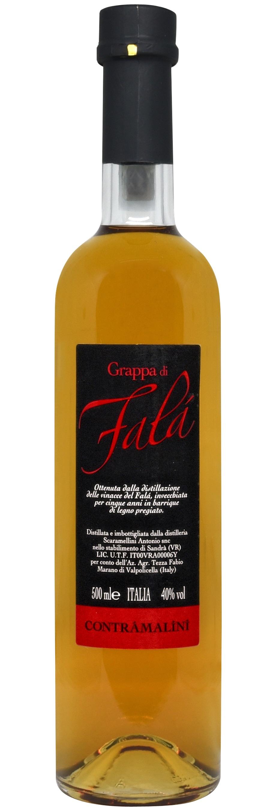 - Grappa di FalàOttenuta dalla distillazione delle vinacce del Falà, invecchiata per cinque anni in barrique di legno pregiato.500 ML - 40% vol.
