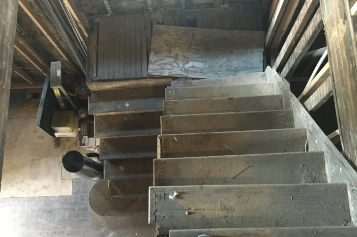 Before: Aerial view of the staircase