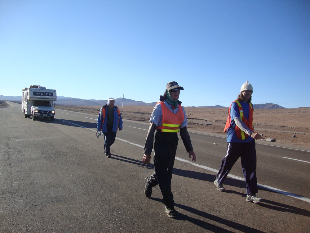 Bob Hentzen (Middle) with Paul Pearce (Right) and Jose (Left) Walking in Chile (photo courtesy of Unbound)