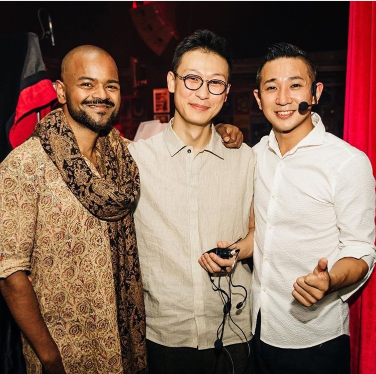 Soumik Datta, Woojae Park & Shogo Yoshii after their performance at Rich Mix London on 9 Oct as part of the K-Music Fest