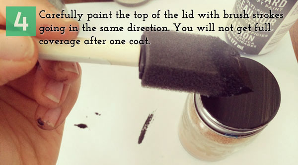 4.	Carefully paint the top of the lid with brush strokes going in the same direction.  You will not get full coverage after one coat.