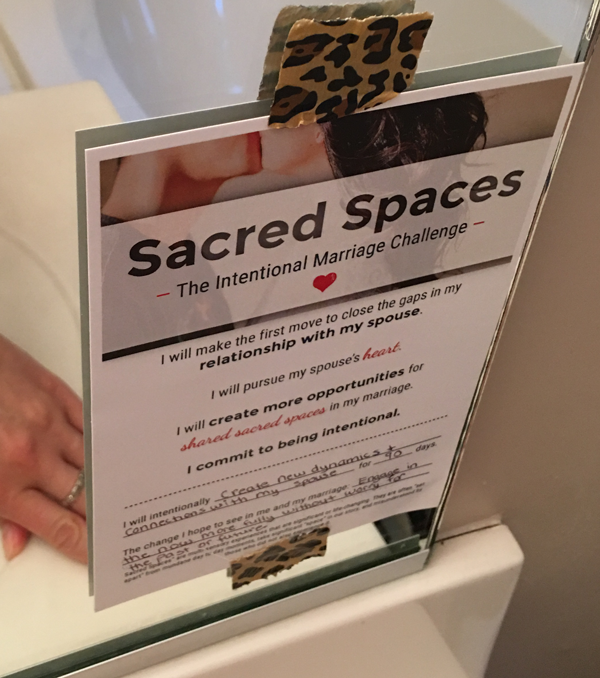Sacred Spaces: Intentional Marriage Challenge Commitment Card  — Document your intention after reading the book and commit to it for at least 30 days.