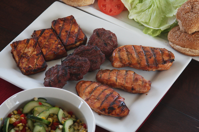 BBQ Burgers, Chicken, Tofu