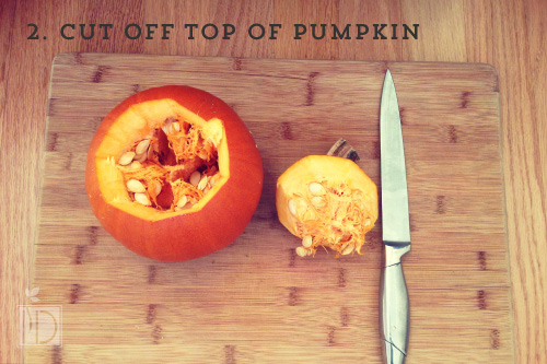 Cut off the entire width of the top part of the pumpkin. Make sure guests use their cutting boards so they don't nick your table by accident!