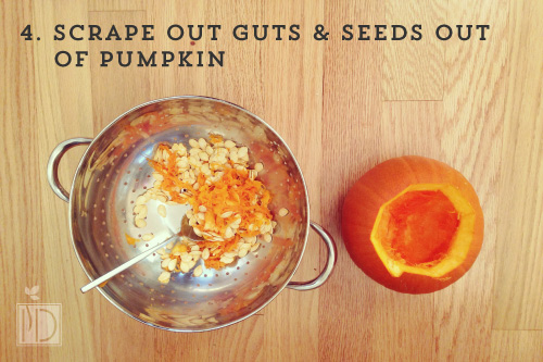 Scrape the guts and seeds out of the pumpkin. Put in a bowl or strainer. Wash and separate the seeds. Place on a paper towel to dry. At the end of the night offer your guests a baggie so they can take their seeds home to bake for a healthy snack.