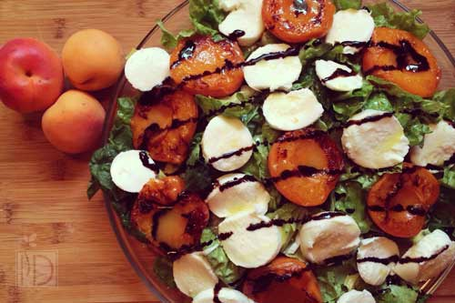 Grilled Apricot Salad with Mozzarella