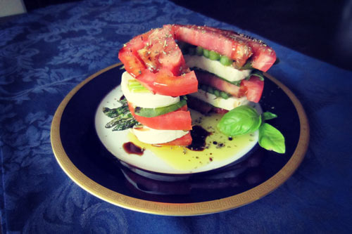 stacked caprese salad with asparagus