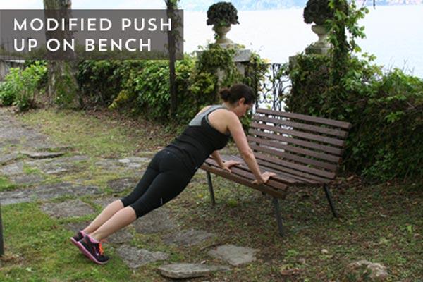 bench pushups modified