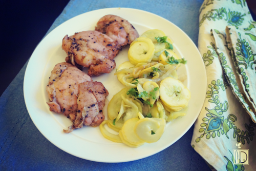 Coffee-Rubbed Chicken with Ginger-Garlic Summer Squash