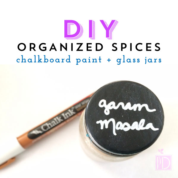 DIY:  Organized Spices = Chalkboard Paint + Glass Jars