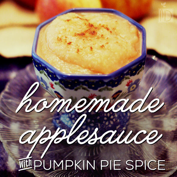 Homemade Applesauce with Pumpkin Pie Spice - This recipe is fantastic warm from the pot, and will make your house smell great while it's simmering.