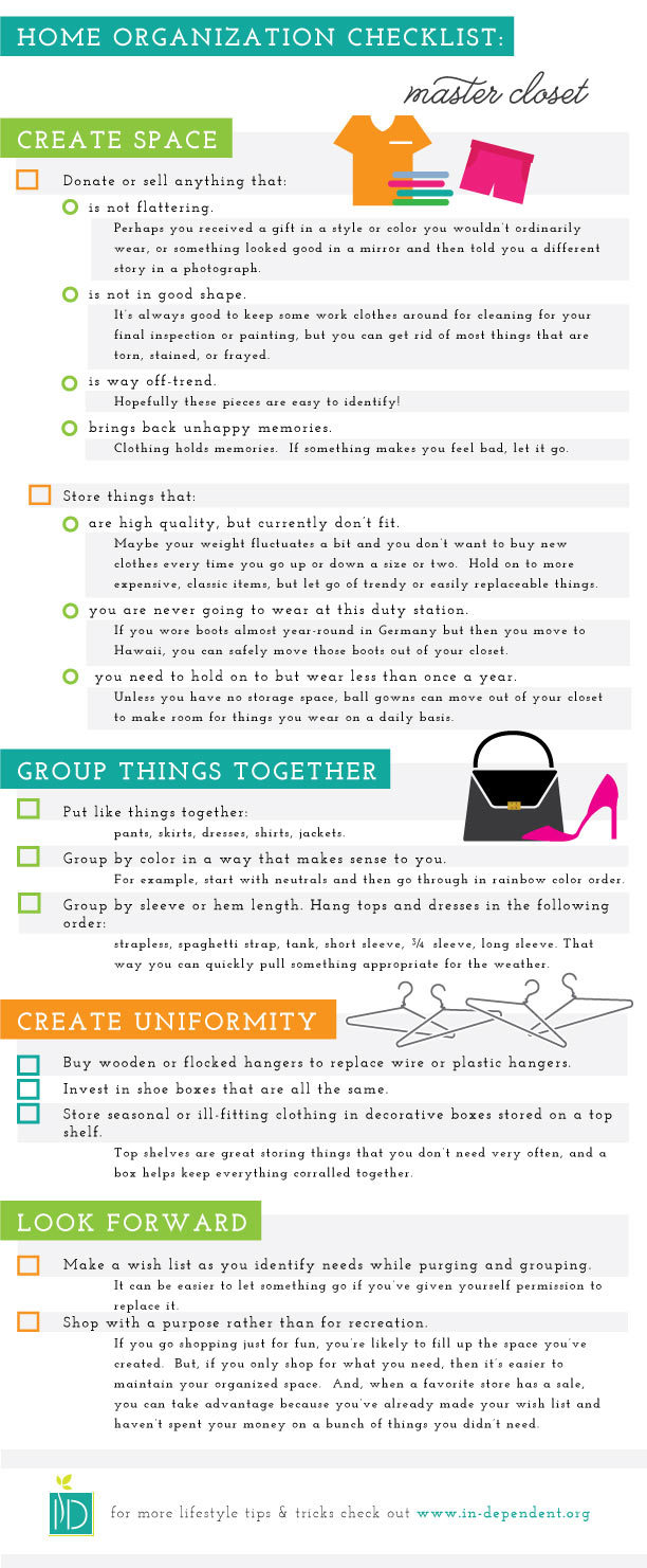 Master Closet: checklist