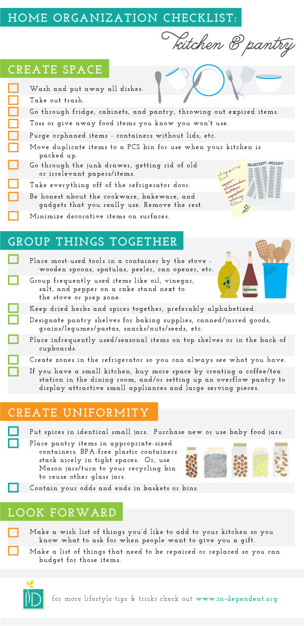 Organization Checklist:  Kitchen & Pantry