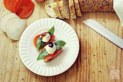 Persimmon Pear Caprese Toast via Joy the Baker