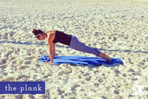 Not only does the plank pose work your entire core, it also sculpts and strengthens your arms, thighs, and bottom.