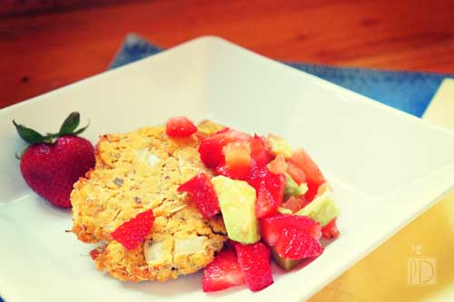 Salmon Cakes with Strawberry Avocado Salsa