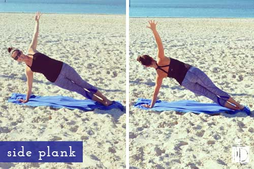 The side plank works your entire core but specifically targets an often weak muscle called the quadratus lumborum, which connects the pelvis to the spine and is often the source of lower back pain.