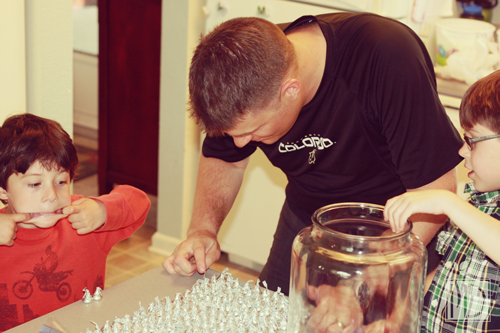 Make a math lesson out of counting out Hershey Kisses before deployment begins.