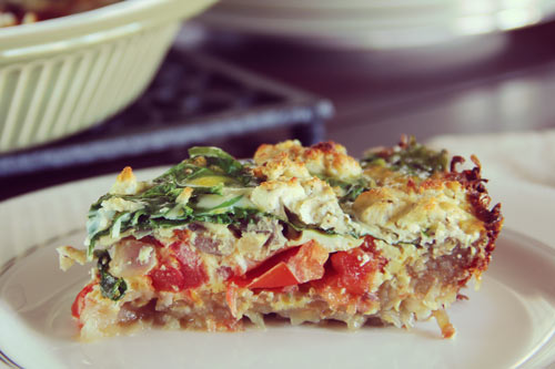Spinach, Tomato, and Goat Cheese Quiche in a Potato Crust