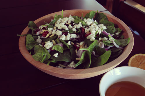 Mallorca Spinach Salad with Honey Lemon Dressing