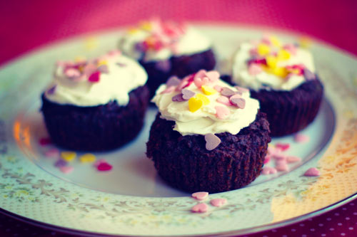 Cocoa, Kale, & Beet Cupcakes with Coconut Cream Frosting