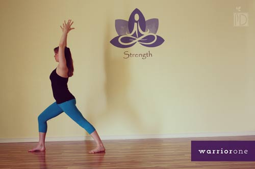 Warrior I Is A Great Pose For Building Leg Strength Flexibility In The Hips And Core One Forward With Foot At Top Of Mat
