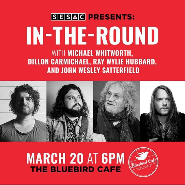 Excited to be back at @bluebirdcafetn with @raywylie @dilloncmusic @michaelwhitworth on Wednesday! Huge thanks to @sesac and @misslatidalyd for inviting me to join such a great group!