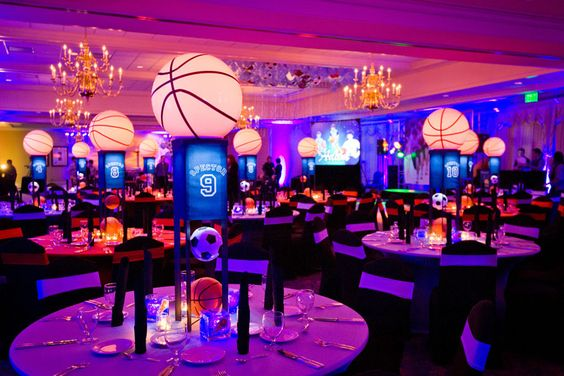 March Madness Basketball event decor and lighting