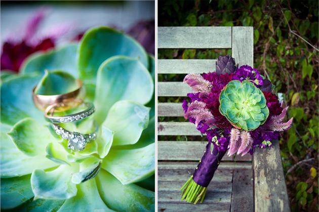 Detail of bride's wedding bouquet in Oakland, CA