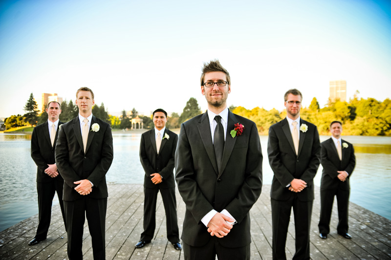 Groom and Groomsmen on Dock at Lake Merritt in Oakland
