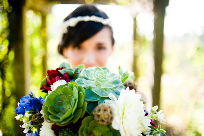 Close up of bridal bouquet with succulentse and Caleb's Wedding, Berkeley, CA - Bay Area Wedding Photographer