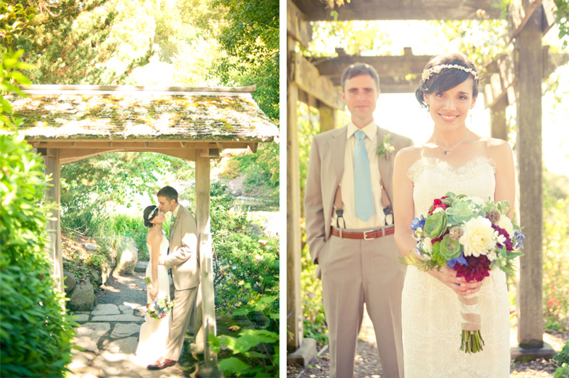 First look of Bride and Groom at the UC Berkeley Botanical Garden