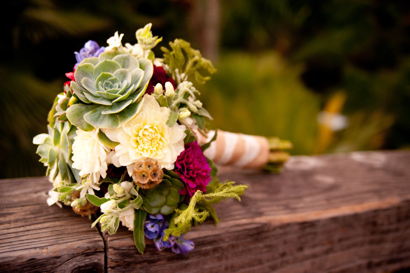 Detail of wedding bouquet with succulents