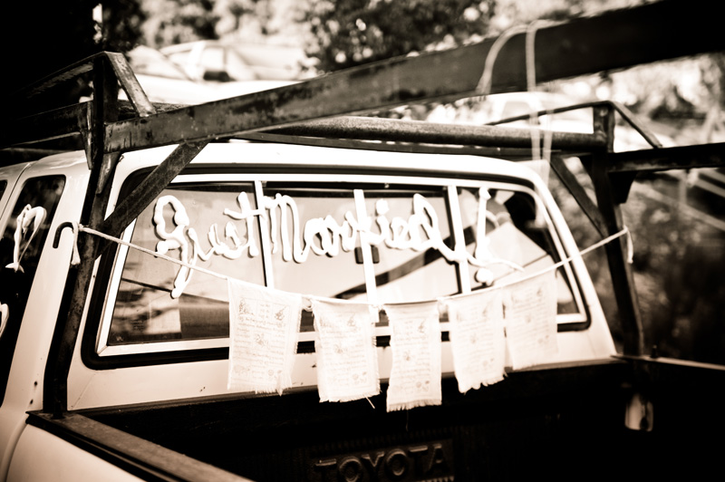 Groom's truck decorated with Just Married